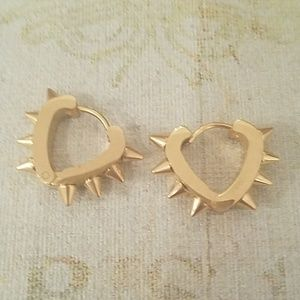 Tasteful Gold Spiked Earrings